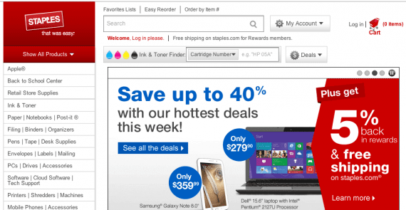 Staples home page.