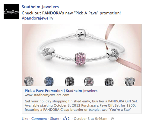 Search for #pandorajewelry on Facebook