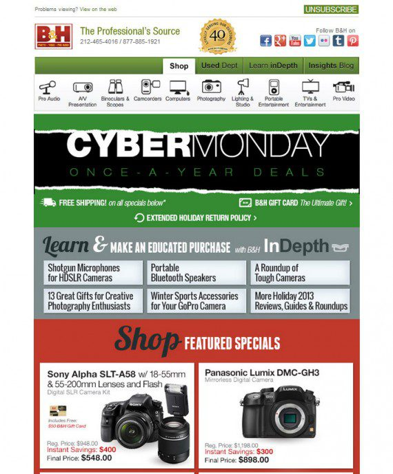 B&H provides useful content and showed the link for that content above products in its email message.