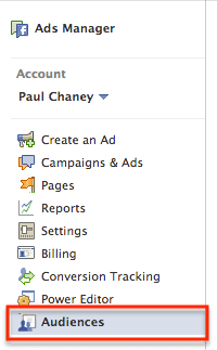 Create a Custom Audience using Ads Manager.