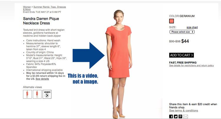 MyHabit puts videos first on product detail pages. These videos play automatically when the page is loaded.