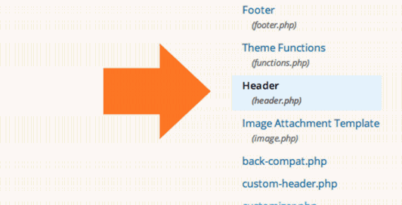 Locate the header.php file from the Templates column.