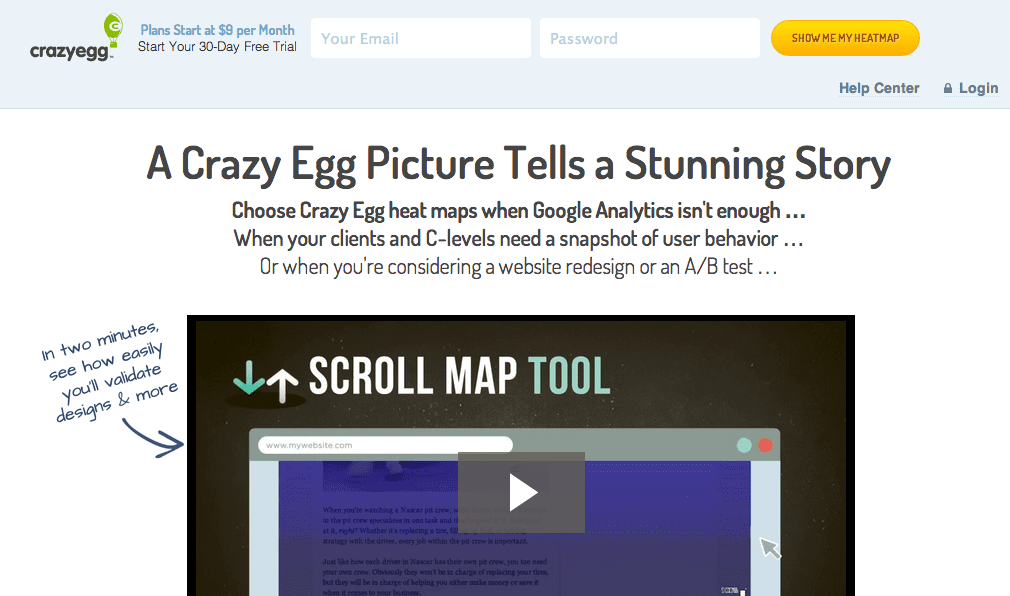 Crazy Egg provides heat maps to help understand how visitors interact with your website.
