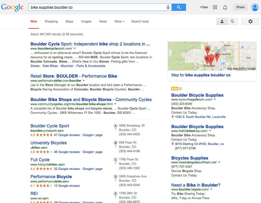 """Google search results for """"bike supplies boulder co""""."""