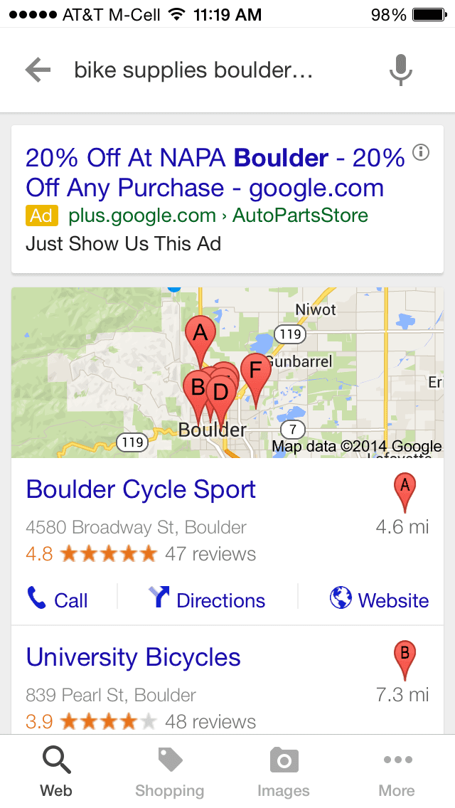 """Google search results for """"bike supplies boulder co"""" from a smartphone."""
