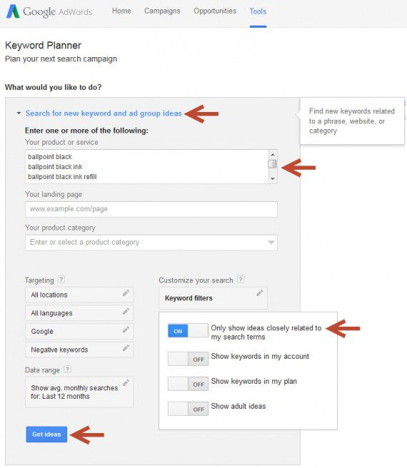The input screen for Google Keyword Planner's new keywords function.