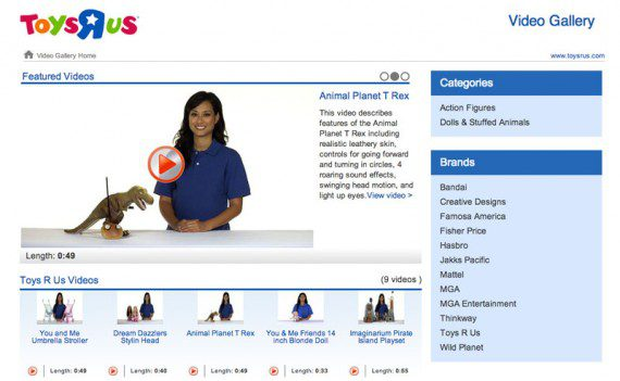 """Toys""""R""""Us has a video gallery to display product videos all in one place."""