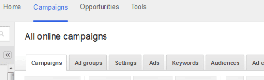 """""""Campaign"""" tabs in AdWords."""