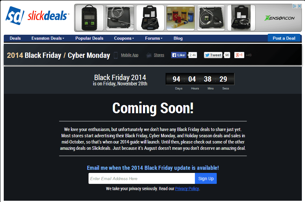 """SlickDeals, an affiliate site, already has a """"Coming Soon"""" page for Black Friday."""