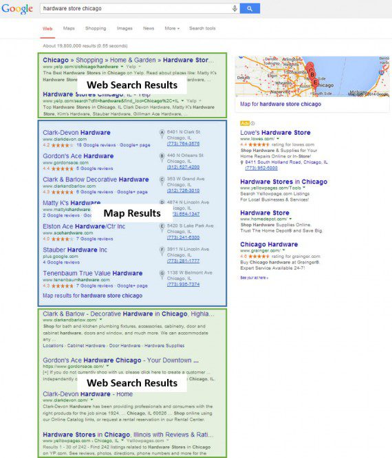 The impacted zones of Google's search results page.