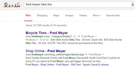 The link Google showed at the top of its search results page was likely not the one the retailer wanted visitors to see.