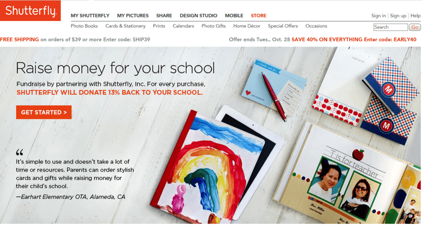 Shutterfly uses ShareASale's Storefront interface to power its fundraising program, giving schools 13 percent of all purchases. made.