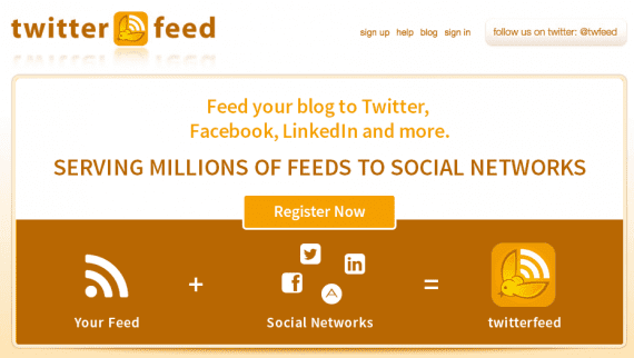 Twitterfeed publishes RSS feed content to social networks.