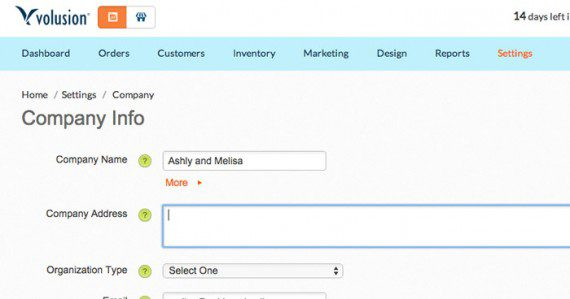 Enter company information using the Volusion form.