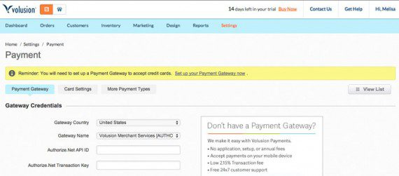 Volusion users will need to set up payment options too.
