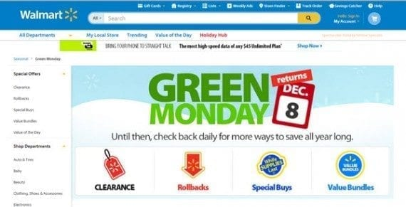 Walmart is already promoting Green Monday on its website.