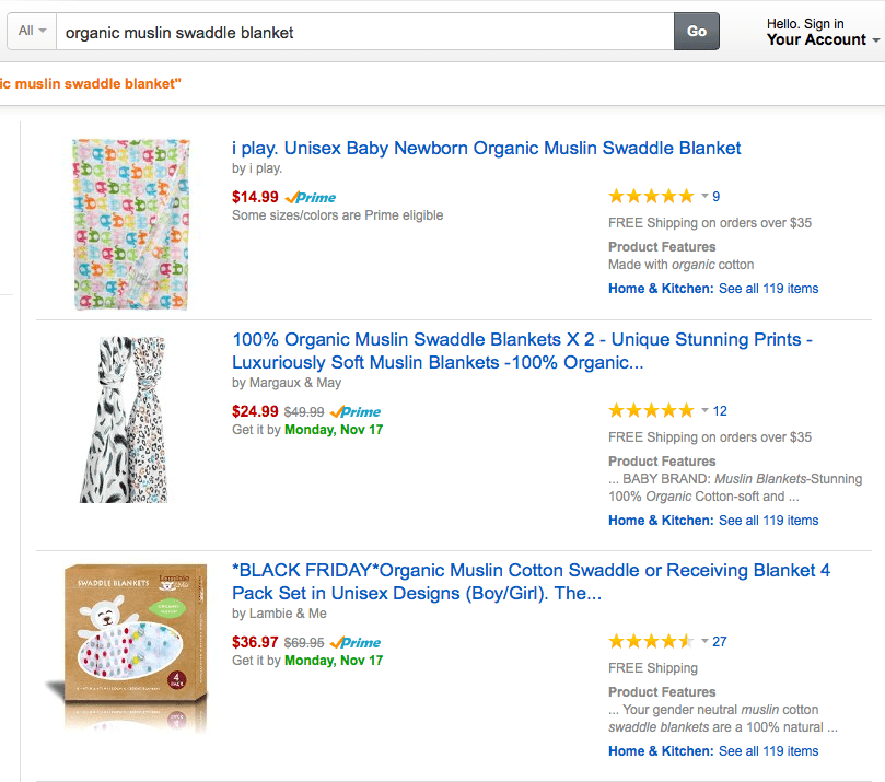 """Amazon's search results for """"organic muslin swaddle blanket""""."""