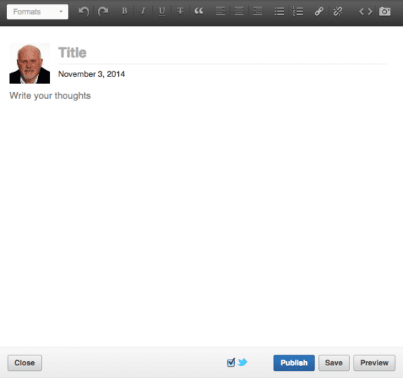 The LinkedIn Publisher interface is straightforward and easy to use.