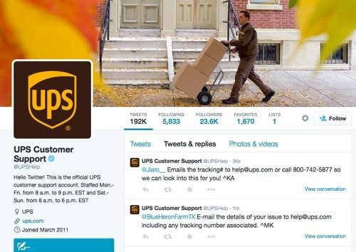 UPS Customer Support on Twitter