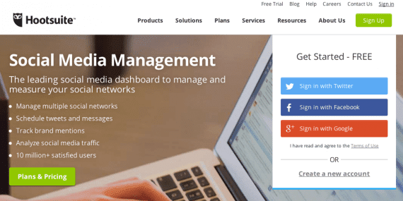 Hootsuite social media management platform.