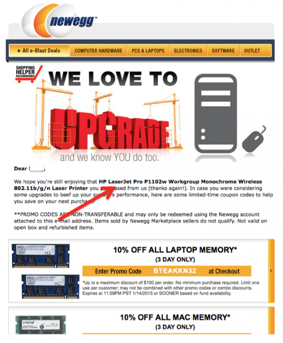 This follow-up email from Newegg arrived after the purchase of a HP LaserJet printer, offering coupons for related purchases.
