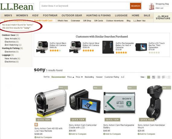 "L.L. Bean makes the error less apparent, and assumes the user meant ""Sony"". It's an on-target assumption, though a shopper could have meant something else."