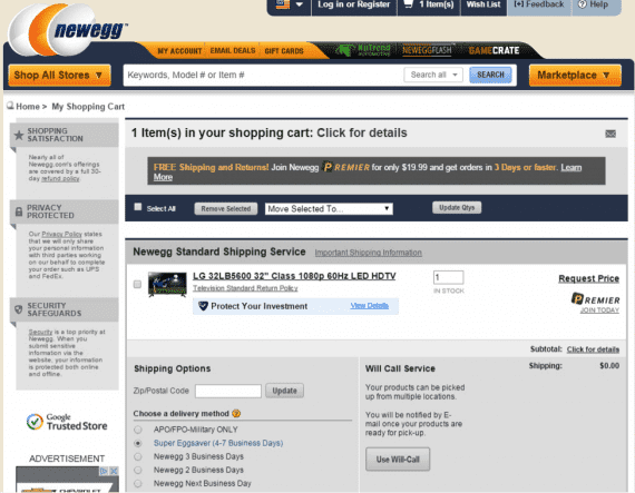 Whether the price was emailed or not, the shopper is left to check out, unsure of the price of the item. Source: Newegg.