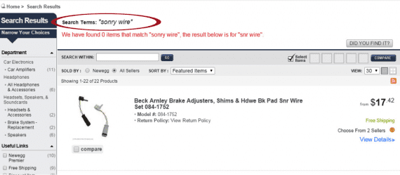 "After entering the term ""sonry wire"" Newegg's search system returns items for ""snr wire""."