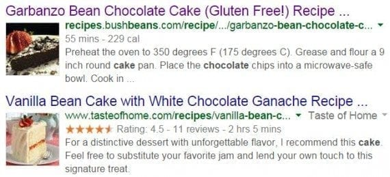 "A Google search result listing for ""bean chocolate cake recipe"" with photos and other rich snippets"