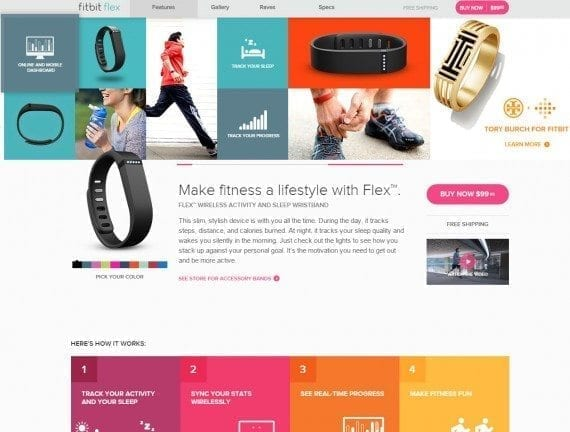 The Flex' design and features are front and center. The page relies on both text and graphics to get the message across. While a purchase button is present, selling is not the main focus of the page.