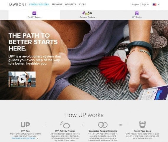The Jawbone UP's landing page doesn't really focus on the device and what it actually does, especially since the photo shows a girl lounging around. This is an example of how photos should always convey the need or desire for the product.