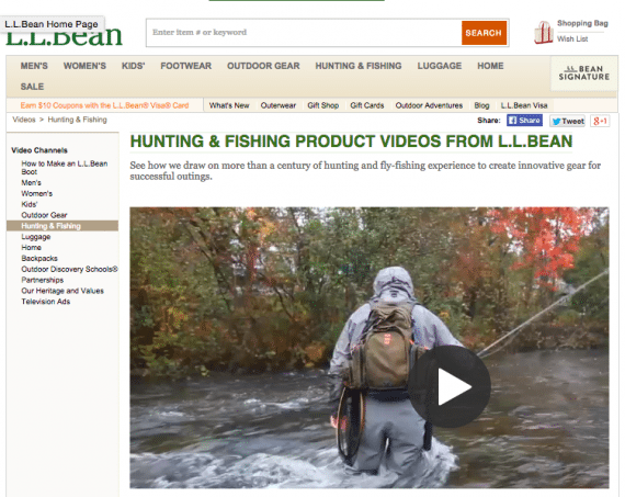 On L.L. Bean's ecommerce site, you'll often see a video of someone using a product, like fishing gear, in a real environment.