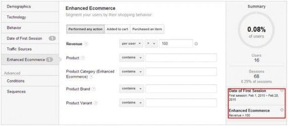 "To combine first visit segments with total revenue for each user, combine the Date of First Visit condition with the ""Enhanced Ecommerce"" condition."