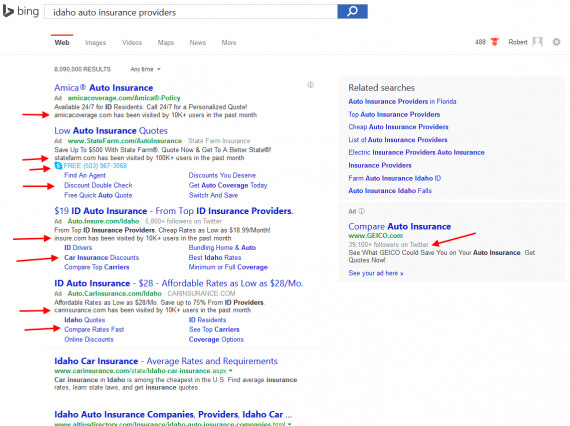 "The Bing search result page for ""Idaho auto insurance providers."""
