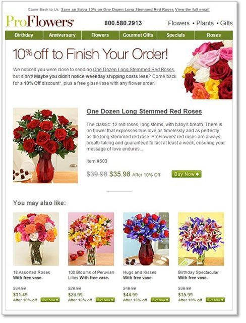 This abandoned cart email from ProFlowers includes a discounted offer, to entice the shopper to complete the purchase.