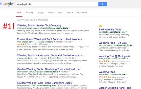 "An edited screenshot showing Google search results for ""weeding tools."""