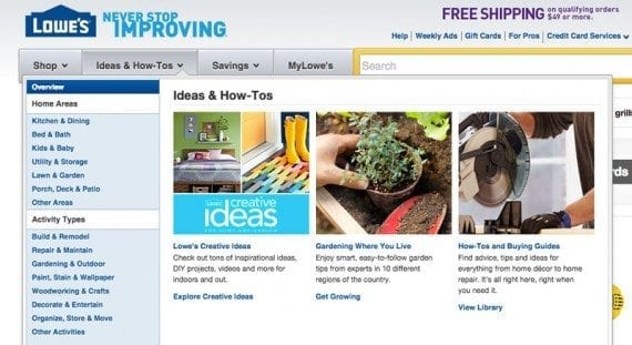 Lowe's offers site visitors useful content directly in the global navigation.