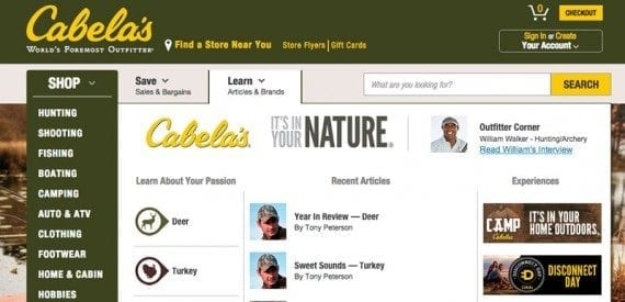 "Cabela's places a ""Learn"" link to its content marketing front and center in its global navigation."