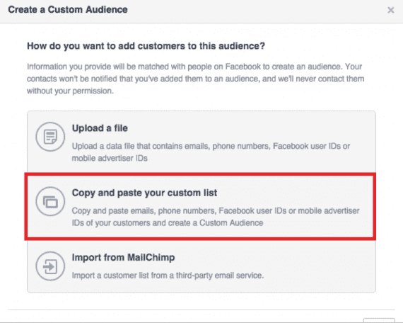 """Choose """"Copy and paste your custom list."""""""