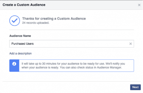 """Give your audience a name — """"Purchased Users"""" in this example."""