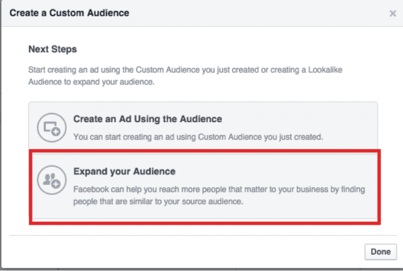 Click on the option to expand the audience.