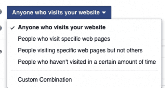 """Select """"Anyone who visits your website"""" to create combinations of how you want to add people to your list."""