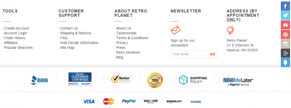 You don't have to distract shoppers. Place the payment icons in the footer. Source: RetroPlanet.com.