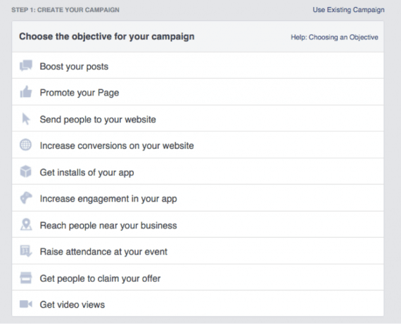 Facebook offers 10 campaign types.