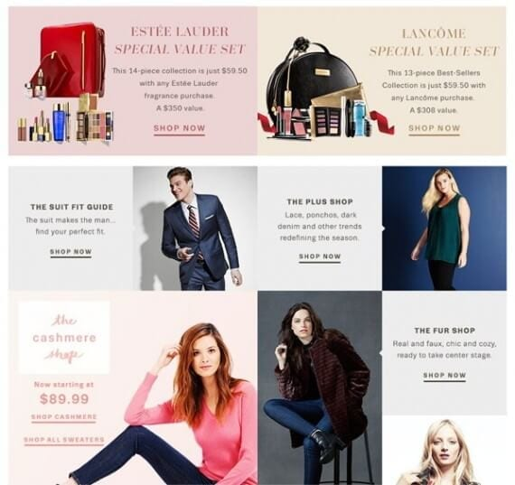 On the Lord & Taylor website, cards are used to feature categories or products.