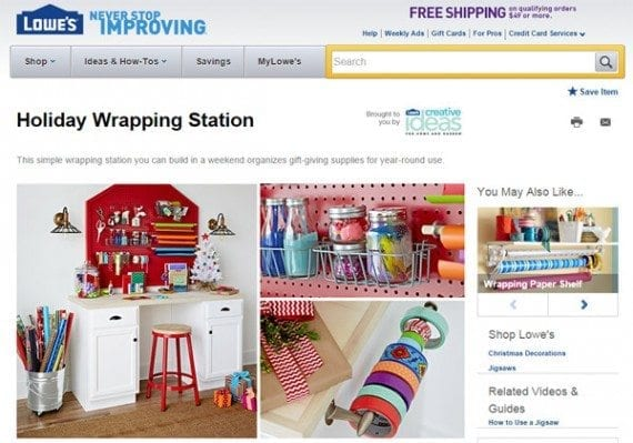 Lowe's has many examples of holiday how-to articles on its ecommerce site.