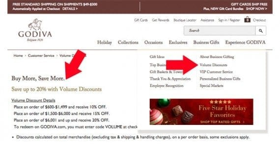 Godiva, the chocolate maker, offers its business clients a volume discount. This can save business money and boost Godiva's AOV.