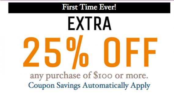 This offer gives shoppers an extra 25 percent off for spending at least $100.