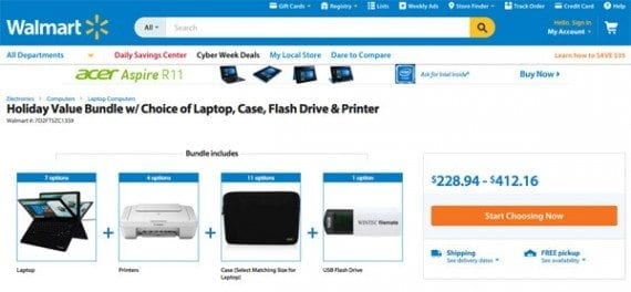 Walmart is offering a laptop bundle for the holidays.