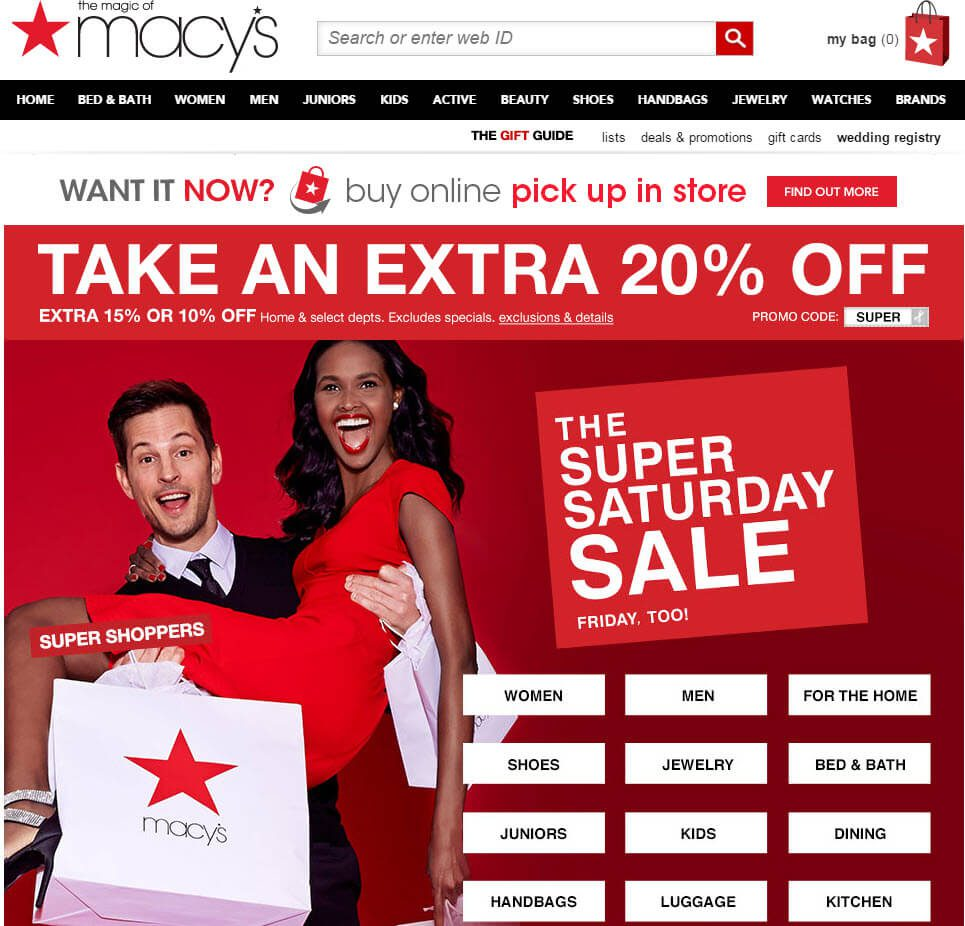 Most big etailers have ditched sliders and opted for compelling, large graphics. This graphic at Macy's links to all the major sections.